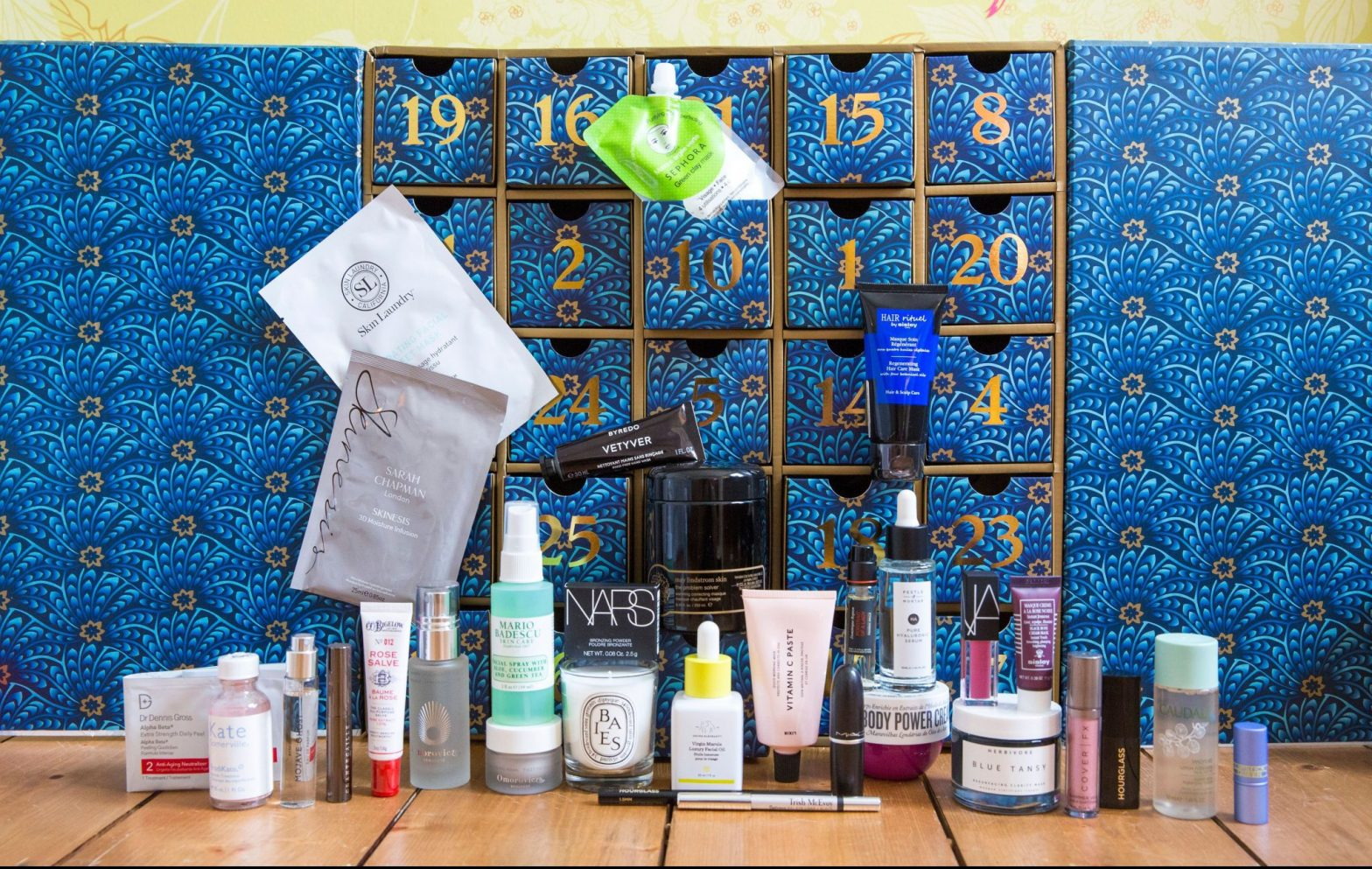 Liberty Beauty calendar with all the products lined up ready to be filled