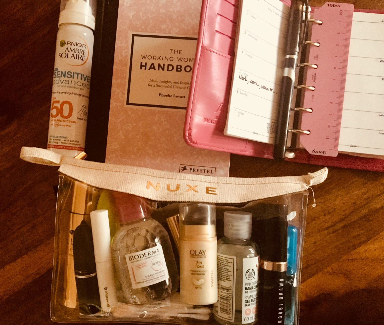 All my work skincare and makeup in one bag- it really does fit