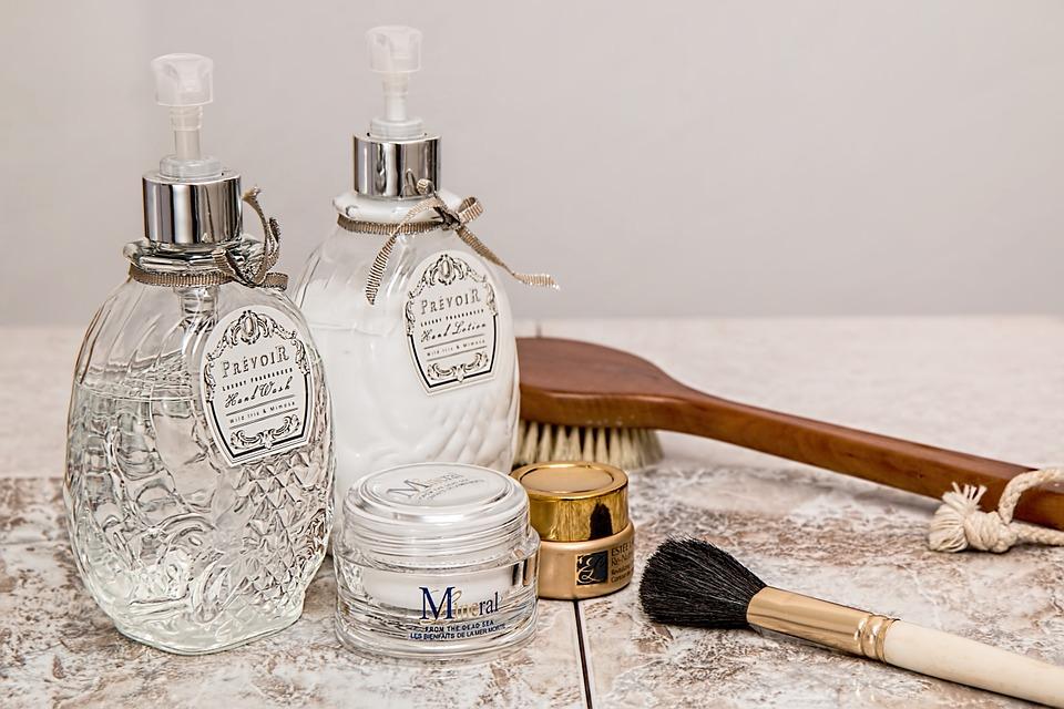 Picture of vintage skincare bottles on a dresser
