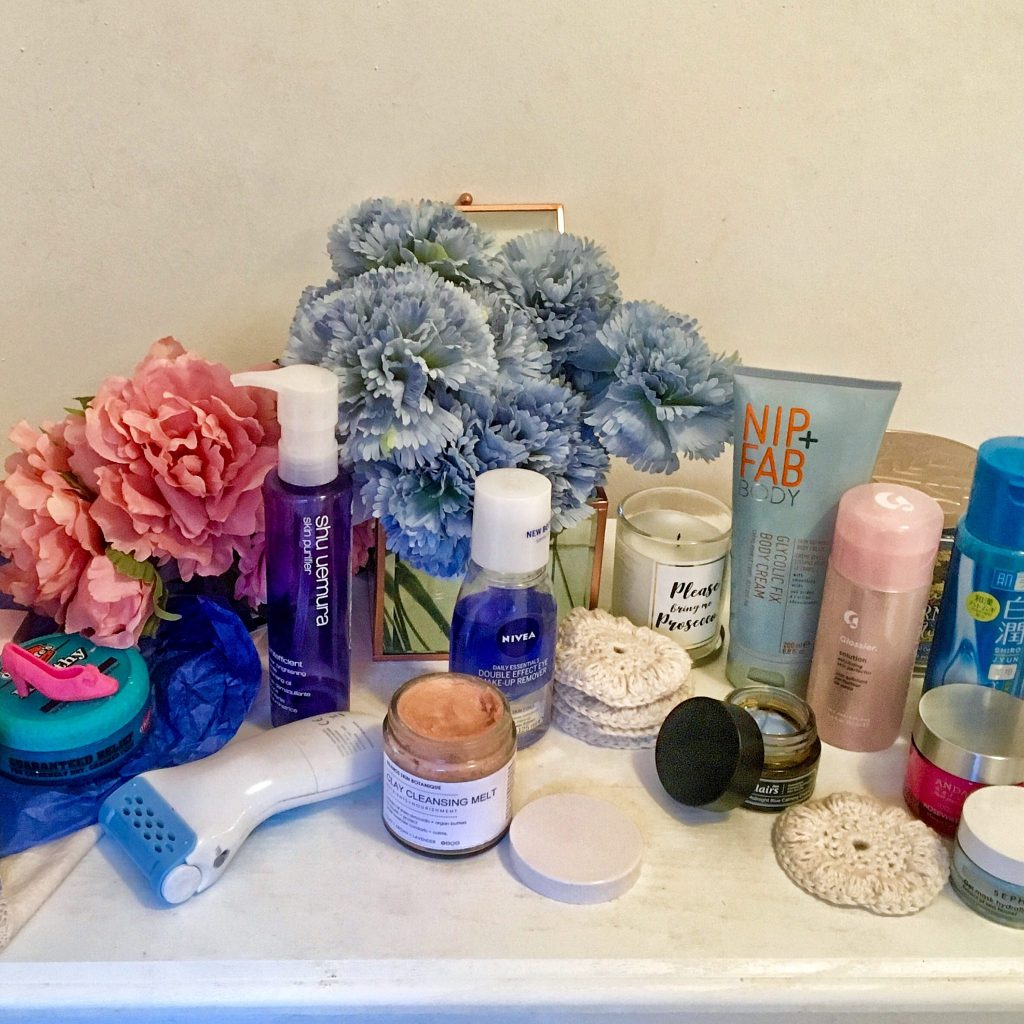 A lineup of skincare used this month including the Nip+ Fab Body cream